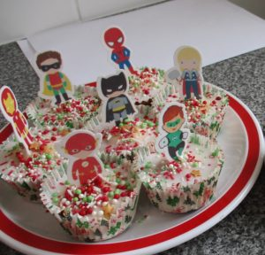 Superhero themed baking at Comic Book Day at South Newton Hospital